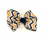 Blue (Dark Navy-Orange) Chevron Bow - 4 Inch