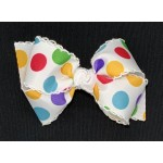 White / Gumball Dots Bow - 4 inch