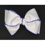 White / Century Blue Pico Stitch Bow - 4 Inch