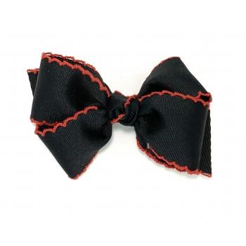 Black / Red Pico Stitch Bow - 4 Inch