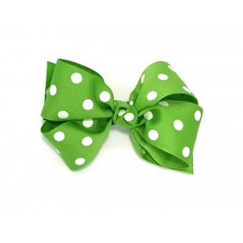 Green (Apple Green) Polka Dots Bow - 4 Inch