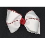 White (Cranberry-Gray) Pico Stitch Bow - 4 Inch