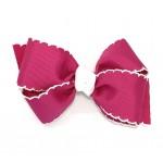 Pink (Azalea) / White Pico Stitch Bow - 4 Inch