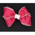 Pink (Shocking Pink) / White Pico Stitch Bow - 4 Inch
