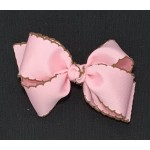 Pink (Light Pink) / Brown Pico Stitch Bow - 4 Inch
