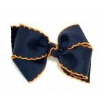 Blue (Dark Navy) / Orange Pico Stitch Bow - 4 Inch