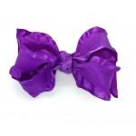 Purple (Delphinium) Double Ruffle Bow - 4 Inch