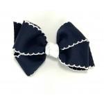 Blue (Dark Navy) / White Pico Stitch Bow - 4 Inch