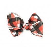 Black-Red Plaid / White Pico Stitch Bow - 4 inch