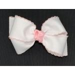 White / Light Pink Pico Stitch Bow - 4 Inch