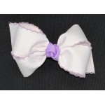 White / Light Lavender Pico Stitch Bow - 4 Inch