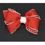 Red / White Pico Stitch Bow - 4 Inch