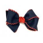 Blue (Dark Navy) / Red Pico Stitch Bow - 4 Inch