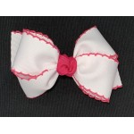 White / Shocking Pink Pico Stitch Bow - 4 Inch