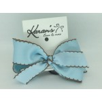 Blue 312 /Brown Pico Stitch Bow - 4 Inch
