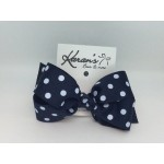 Blue (Dark Navy) Polka Dots Bow - 4 Inch