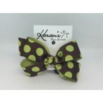 Brown / Lime Juice Dots Bow - 4 Inch
