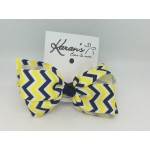 Blue (Dark Navy-Yellow) Chevron Bow - 4 Inch