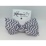 Gray Chevron Bow - 4 Inch