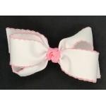 White (150 Pink) Pico Stitch Bow - 5 Inch