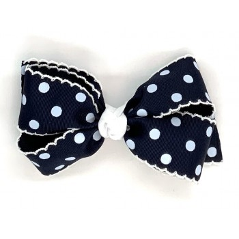 Blue (Dark Navy) Polka Dots Bow - 5 Inch