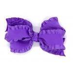 Purple (Delphinium) Double Ruffle Bow - 5 Inch