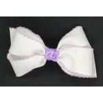 White / Light Lavender Pico Stitch Bow - 5 Inch
