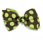 Brown / Lime Juice Dots Bow - 5 Inch