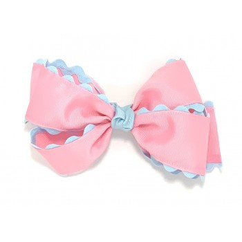 Pink (150 Pink) / 312 Blue Ric Rac Bow - 5 Inch