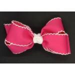 Pink (Shocking Pink) / White Pico Stitch Bow - 5 Inch