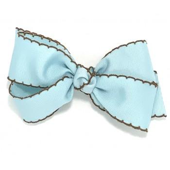Blue (305 Blue) / Brown Pico Stitch Bow - 5 Inch
