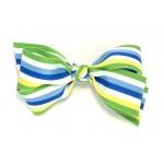 Green (Apple Green) Stripe Grosgrain Bow - 5 Inch