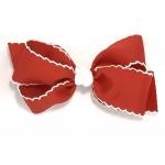 Red / White Pico Stitch Bow - 5 Inch
