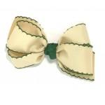White (Khaki) / Forest Green) Pico Stitch Bow - 5 Inch
