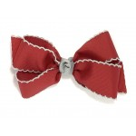 Red (Cranberry) / Gray Pico Stitch Bow - 5 Inch