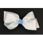 White / (312 Blue) Pico Stitch Bow - 5 Inch