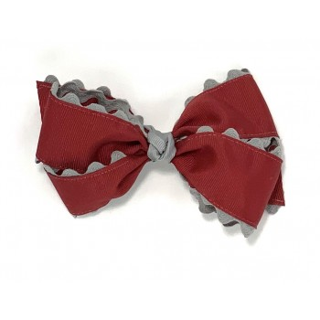 Red (Cranberry) / Gray Ric-Rac Bow - 5 Inch
