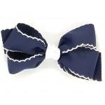 Blue (Dark Navy) / White Pico Stitch Bow - 5 Inch
