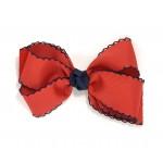 Red / Dark Navy Pico Stitch Bow - 5 Inch