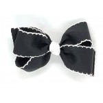 Black / White Pico Stitch Bow - 5 Inch