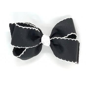 Black / White Pico Stitch Bow - 5 Inch