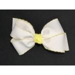White / Baby Maize Pico Stitch Bow - 5 Inch