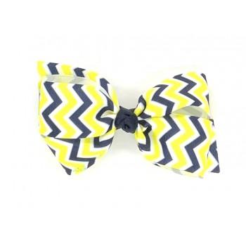 Blue (Dark Navy-Yellow) Chevron Bow - 5 Inch
