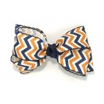 Blue (Dark Navy-Orange) Chevron Bow - 5 Inch