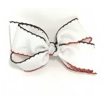 White / Red & Black Pico Stitch Bow - 5 Inch