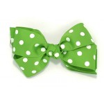 Green (Apple Green) Polka Dots Bow - 5 Inch