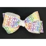 Rainbow Peace Bow - 5 inch