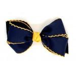 Blue (Dark Navy) / Yellow Gold Pico Stitch Bow - 5 Inch
