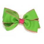 Green (Apple Green) / Shocking Pink Pico Stitch Bow - 5 Inch
