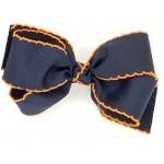 Blue (Dark Navy) / Orange Pico Stitch Bow - 5 Inch